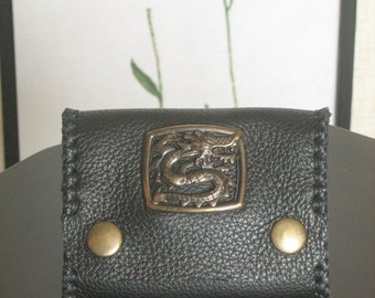 Victorian Renaissance Asian Dragon Concho Leather Coins Wallet