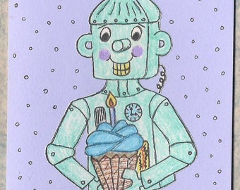 Robot Birthday Card - Robot Card - Vintage Style Birthday Card
