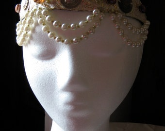 Brocade and pearl, bellydance, headpiece, headdress, tiara, crown