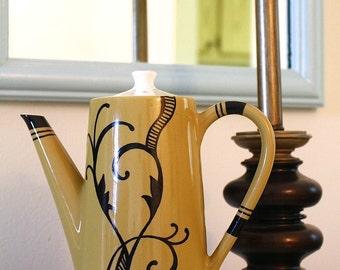 Unique Mustard Yellow Teapot with Black Design