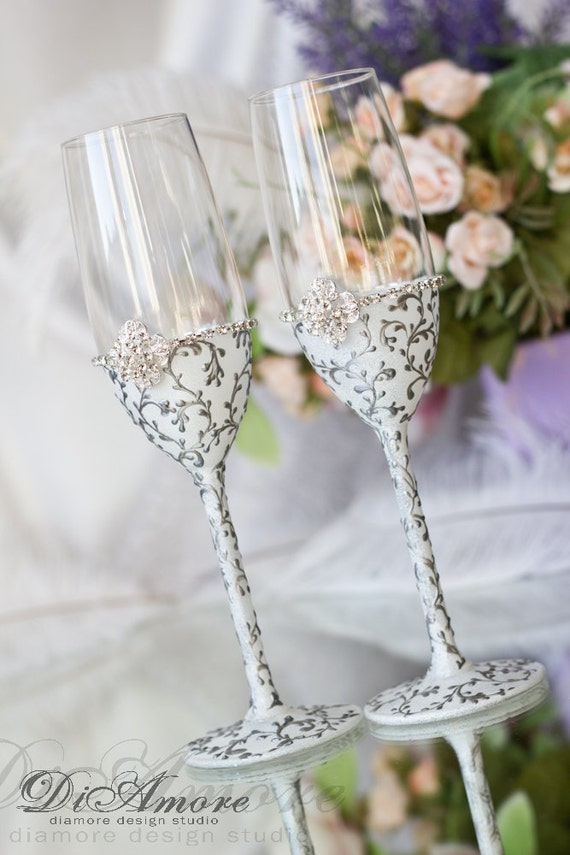 white and silver personalized wedding set champagne flutes