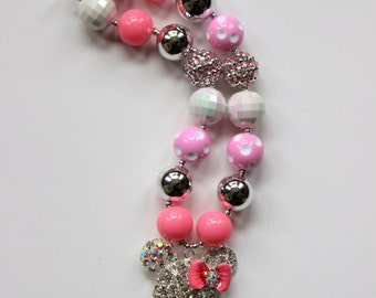 girls chunky bubblegum bead necklace pink silver minnie mouse necklace girls necklace chunky necklace summer bubble gum necklace birthday