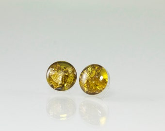 Yellow Stud Earrings with 22K Gold Flakes