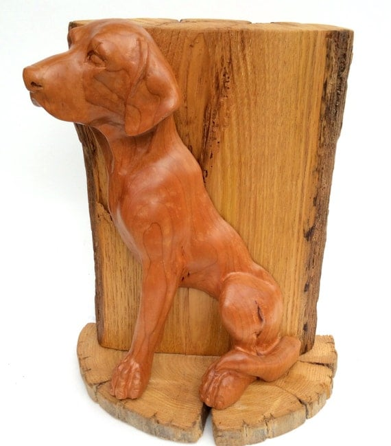 Wood dog sculpture hand carved labrador in by