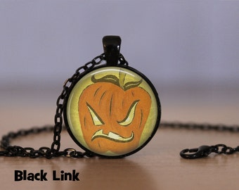Halloween Primative Pumpkin Necklace Halloween Pendant Necklace or Halloween Keyring Halloween Jewelry Halloween Pendant Newsprint