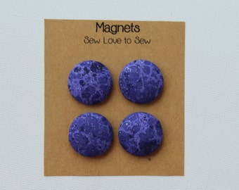 Fabric Covered Button Magnets / Purple Sparkle Magnets / Purple Magnets / Strong Magnets / Refrigerator Magnets