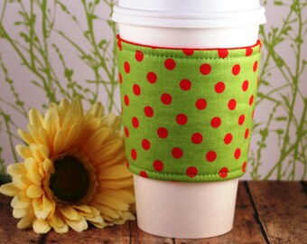 CLEARANCE / Fabric Coffee Cozy / Red Polka Dots Coffee Cozy / Polka Dot Coffee Cozy / Coffee Cozy / Tea Cozy