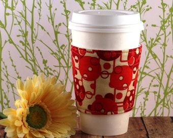CLEARANCE / Fabric Coffee Cozy / Circles and Squares Coffee Cozy / Circle Coffee Cozy / Square Coffee Cozy / Coffee Cozy / Tea Cozy