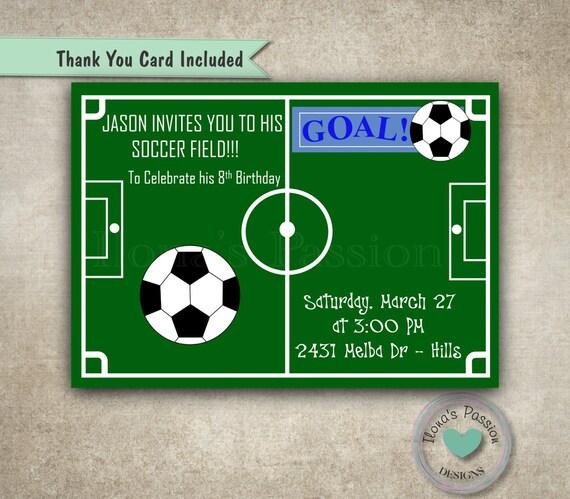 ... Einladung - Fußball Geburtstag Einladung - druckbare Einladung