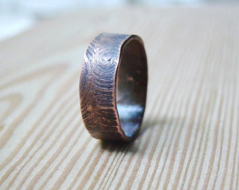 Engraved  personalised ring Mens wedding Band Mens ring, wood texture ring, man jewelry, men ring, mans ring