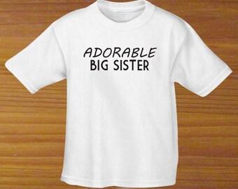 Adorable Big Sister Pink Black White Shirt