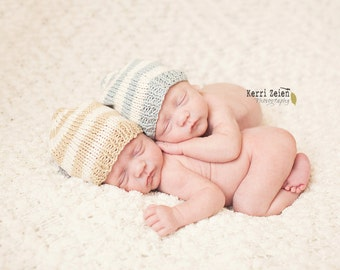 Newborn twin photo prop / twin boy girl heart hats / twin set / cashmere cotton silk hat / twin boy girl hats / photography props twins