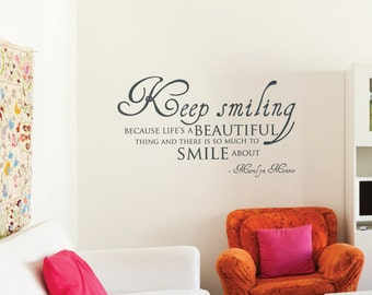 Keep Smiling Marilyn Monroe Quote Wall Sticker Mural Decal Vinyl