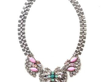 Pink statement necklace, pink rhinestone bib necklace, silver statement necklace