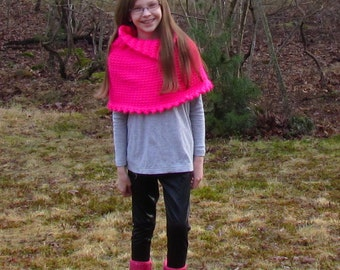 CROCHET PATTERN  Cape Poncho COWL Girl The Sarah in 3 sizes,