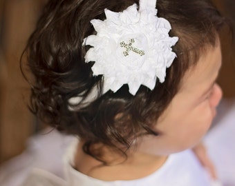 Christening Headband, White Cross Headband, Baptism Headband, Rhinestone Cross Headband, Christian Bow, Baby Headband, Baptismal Hair Bow