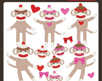 Clip Art Sock Monkey Clip Art sock monkey clip art etsy clipart doll animal commercial personal
