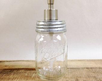 Mason Jar Soap Dispenser with Metal Lid and Pump