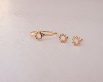 Bahai ring - nine pointed star with matching bahai stud earrings