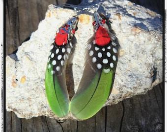 Amazon Parrot, Lady Amherst Pheasant, Guinea Hen Feather Earrings - cruelty free - hippie - BOHO - Tribal