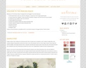 INSTANT DOWNLOAD blogger template - the princess peach template - grey, peach, and soft gold