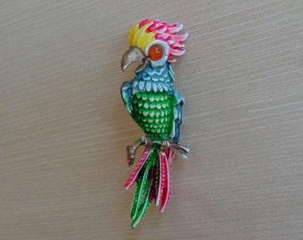 Vintage Enamel Parrot Brooch
