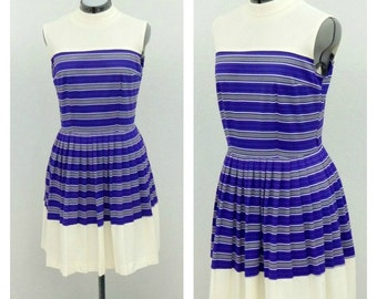 Vintage 60s Mod Purple Striped Cheerleader Dress, High Collar Dress, Sleeveless Pleated Dress, Knee Length, Short Summer Dress