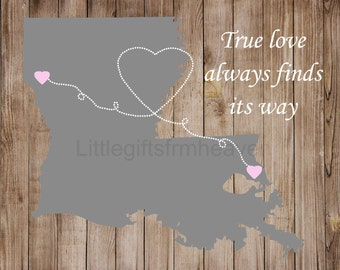 True Love Heart Map- canvas map hearts, family distance map, map with hearts, relationship map, true love map print, relationship moving