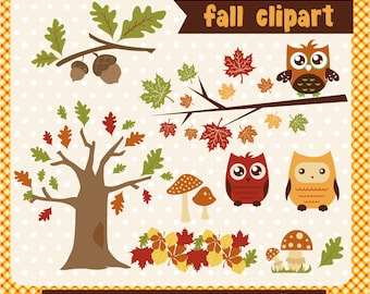 Fall clipart owls trees and leaves, acorn, autumn owls and trees  Instant Download - Eps and PNG files