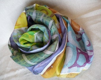 Hand-painted silk scarf with Batik.