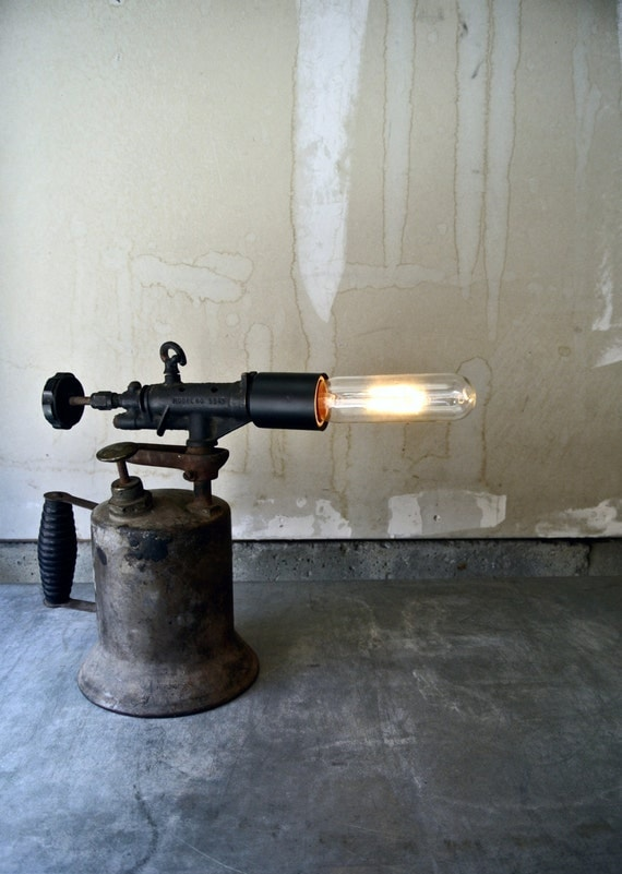 Upcycled Vintage Blow Torch Rustic Table Lamp Touch Lamp
