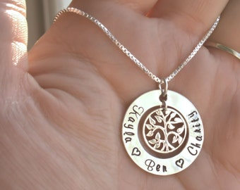 Mothers Day Gift, Custom Personalized Necklace, Family Tree, Mothers Necklace, Mothers Jewelry, Mommy Jewelry, Sterling Silver Hand Stamped