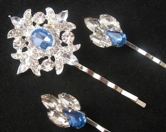 Wedding Hair Pins, Crystal Rhinestone Hair Clip Set, Silver Bridal Bobby Pins, Something Blue Bobby Pins, Bridesmaids Gift