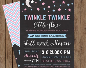 Twinkle Twinkle Little Star! Gender Reveal Baby Shower Invite: Blue and Pink