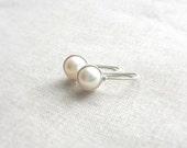 Sterling Silver Modern Freshwater Pearl Drops: Simple Petite Minimalist White Bridal Earrings Clean Fresh Spring Streamlined Valentine Drops
