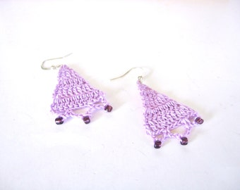 Beaded Lavender Crochet Earrings Boho Hippie
