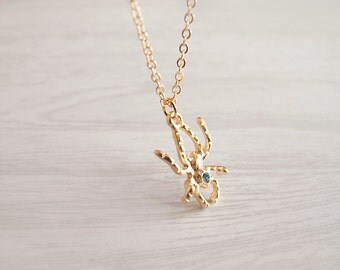 Gold Spider Necklace with Swarovski Crystal - Gift for Her