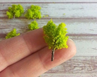 1 miniature tree under the dome project terrarium diorama lime green