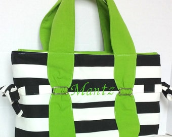 Large Diaper bag, purse, handbag black and white stripe with lime green and polka dots, with or without zipper and bottle pockets