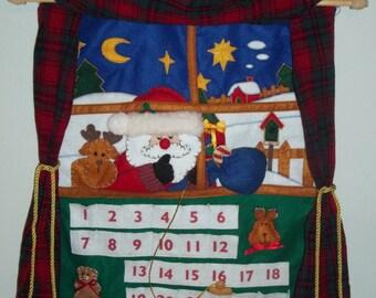 24 DAY Hanging Christmas ADVENT CALENDAR Folk Art w/ Santa, Reindeer