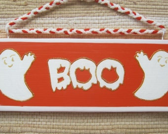 Halloween Boo Holiday Wood Sign With Two Cute Ghosts Hand Painted in Orange, White and Gold