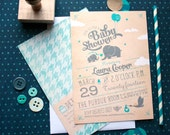 Elephant Baby Shower Invitations - Cute and Retro Vintage Baby Shower Cards - Eloise