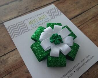 St. Patrick's Day Hair Bow - Green Glitter Shamrock - Shamrock Hair Clip - St. Patty's Hair Accessory - St. Patty's Hair Bow - Shamrock Bow
