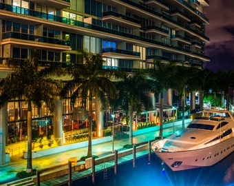 The Epic Hotel and a boat in the Miami River at night, in downtown Miami, Florida. - Urban Photography Fine Art Print or Wrapped Canvas