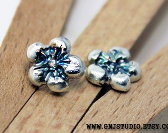 Sterling Silver Flower Post Earrings - Silver Stud Earrings