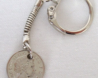 2011 British Five Pence Coin Keyring Key Chain Fob Queen Elizabeth II