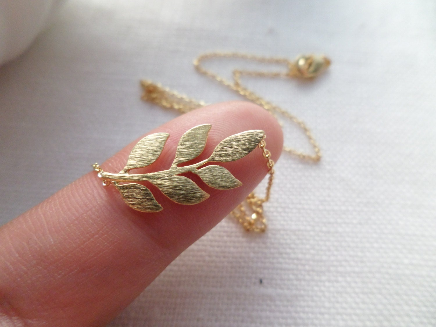 Leaf Necklace In Gold Silver Or Rose Gold Dainty Handmade