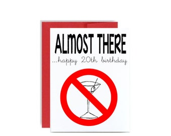 20th Happy Birthday card - almost to drinking age martini 20 bday