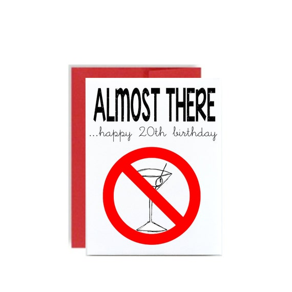 Happy Birthday 20th Quotes: 20th Happy Birthday Card Almost To Drinking Age Martini 20