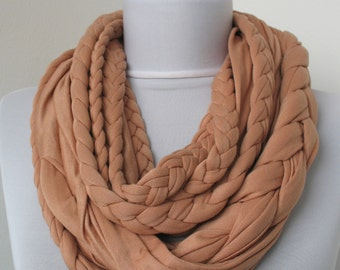 Cinnamon Loop Scarf - Infinity Jersey Scarf - Partially braided Circle Scarf - Scarf Nekclace